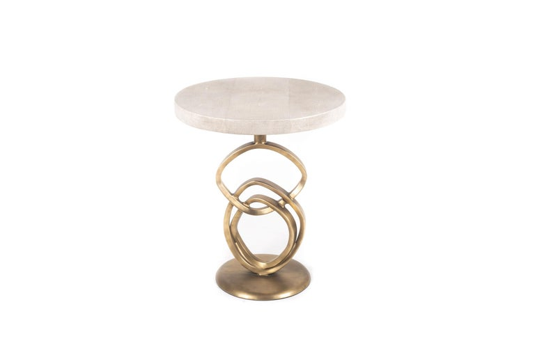 Hand-Crafted Teardrop I Side Table in Cream Shagreen and Bronze Patina Brass by Kifu Paris For Sale
