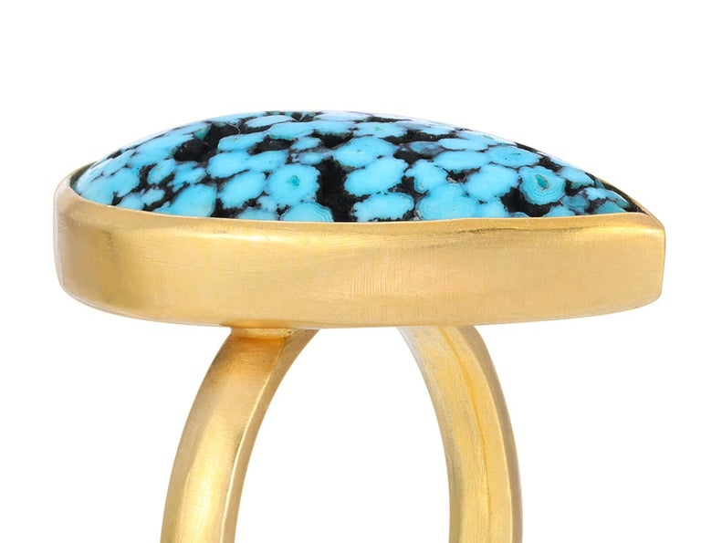 Contemporary Teardrop Matrix Turquoise Ring in 18k Yellow Gold For Sale