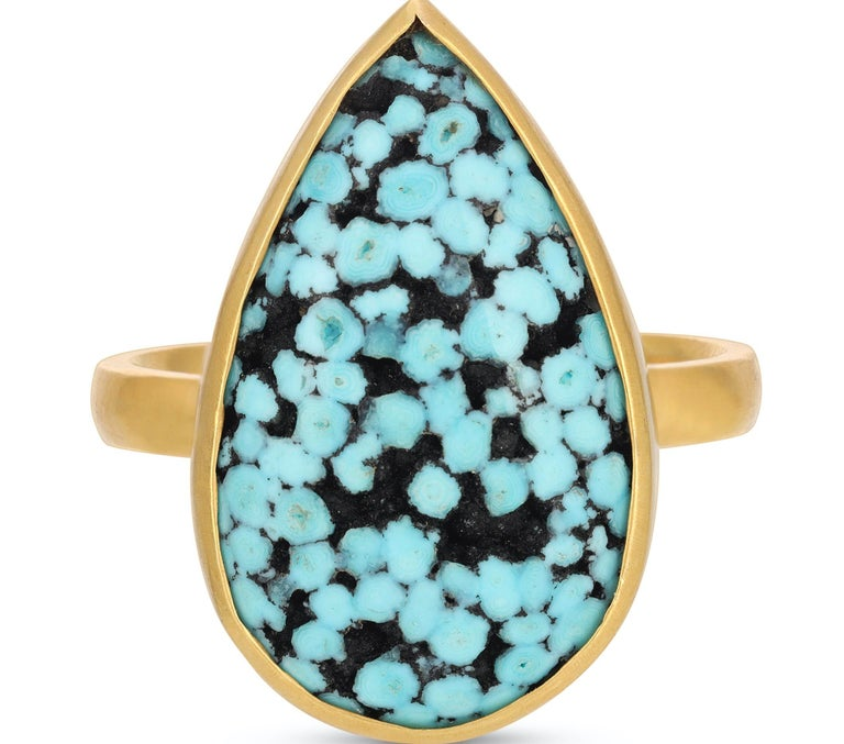 Cabochon Teardrop Matrix Turquoise Ring in 18k Yellow Gold For Sale
