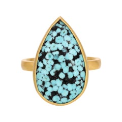Teardrop Matrix Turquoise Ring in 18k Yellow Gold