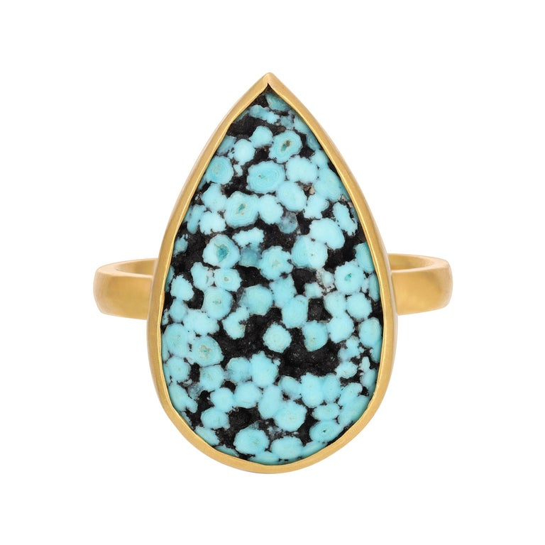 Teardrop Matrix Turquoise Ring in 18k Yellow Gold For Sale