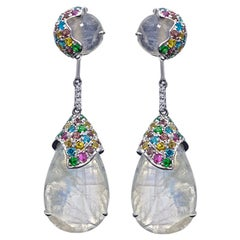 Teardrop Moonstone Earrings, 18 Karat White Gold
