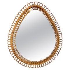 Teardrop Rattan & Bamboo Wall Mirror, Italy, 1960s