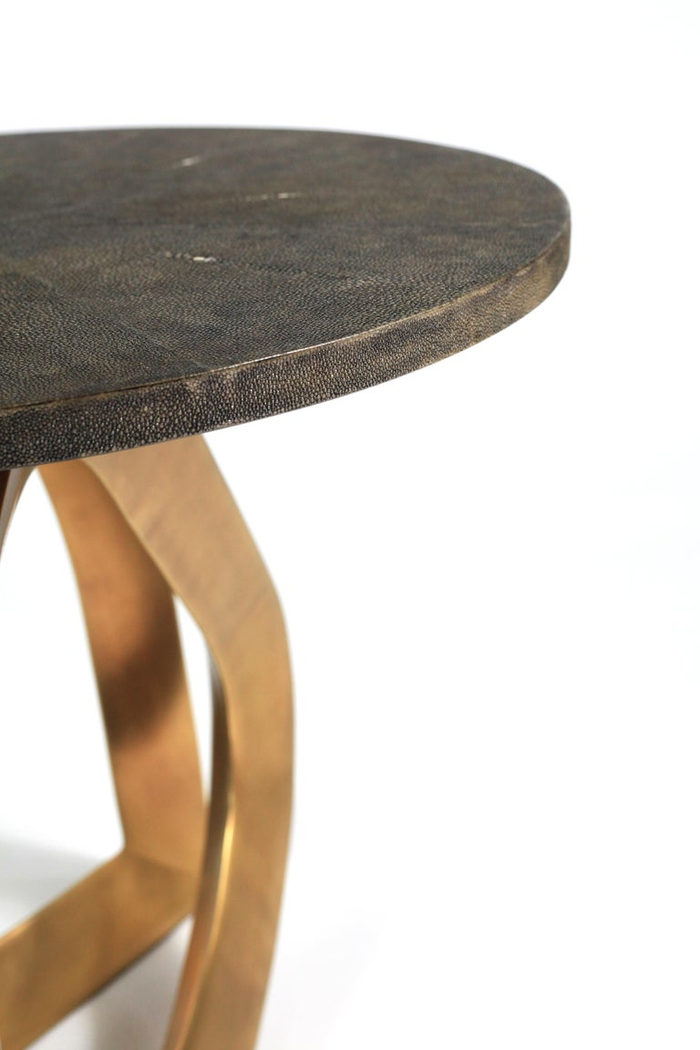 Art Deco Teardrop Side Table in Black Shagreen and Bronze-Patina Brass by Kifu Paris For Sale
