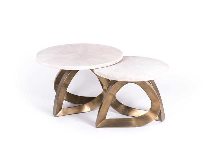 Teardrop Side Table in Black Shagreen and Bronze-Patina Brass by Kifu Paris In New Condition For Sale In New York, NY