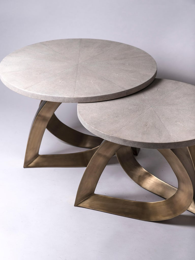 Teardrop Side Table in Black Shagreen and Bronze-Patina Brass by Kifu Paris For Sale 1