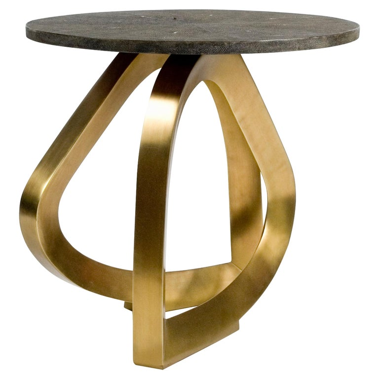 Teardrop Side Table in Black Shagreen and Bronze-Patina Brass by Kifu Paris For Sale