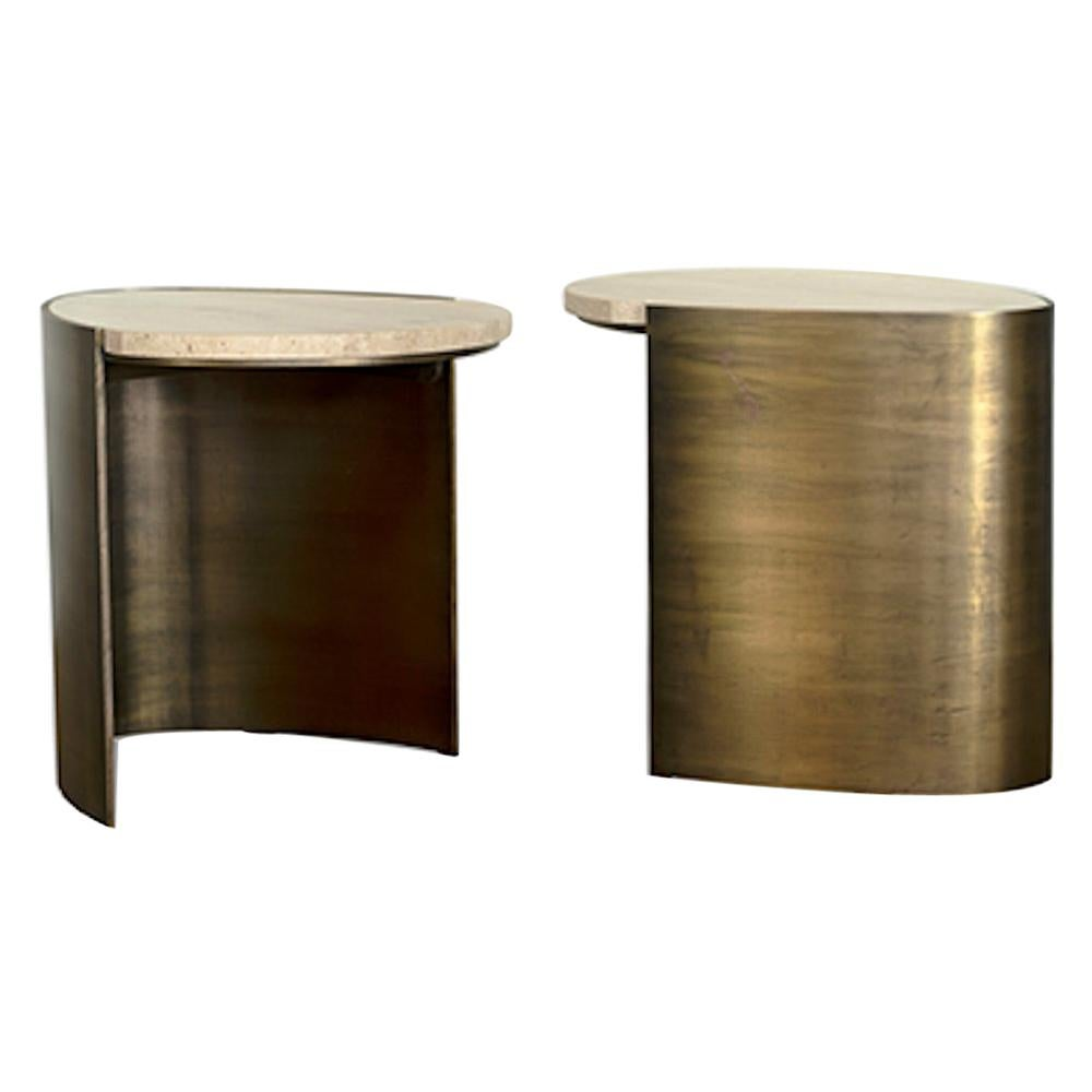 Teardrop Side Table Set of 2 in Brass and Travertine by Atra
