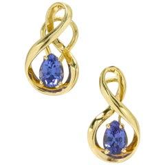 Teardrop Tanzanite Earrings Lever Back 14 Karat Gold Figure 8 Infinity Vintage