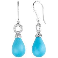 Teardrop Turquoise and Diamond Gold Hoop Drop Earrings