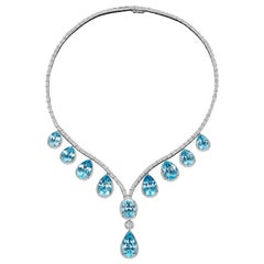 JAG New York Pear Shaped Blue Topaz with Diamonds in Platinum Necklace