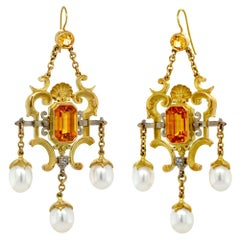 Tears of Aurora Earrings, 18kt Yellow & White Gold, Sapphires, Diamonds, Pearls
