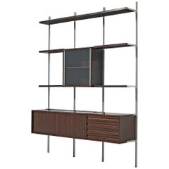 Tecno Borsani Wall Unit 'E22' in Rosewood/Walnut