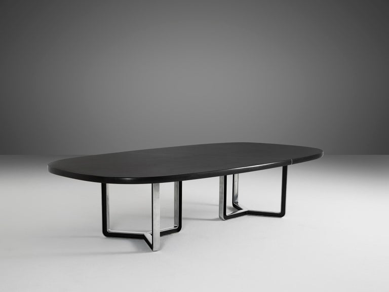 Italian Tecno Large Black Conference Table For Sale