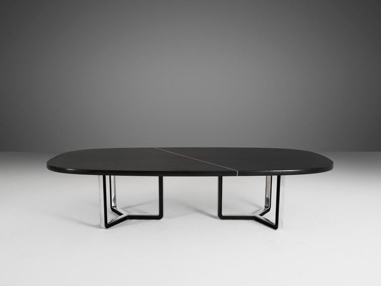Mid-20th Century Tecno Large Black Conference Table For Sale