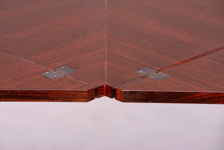Tecno of Italy Rosewood Table with Fold Up Leaves For Sale 3