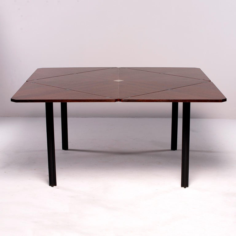 Tecno of Italy Rosewood Table with Fold Up Leaves For Sale 4