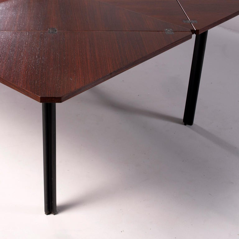 Tecno of Italy Rosewood Table with Fold Up Leaves For Sale 7