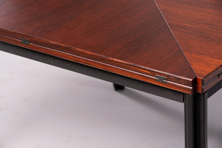 Tecno of Italy Rosewood Table with Fold Up Leaves For Sale 10