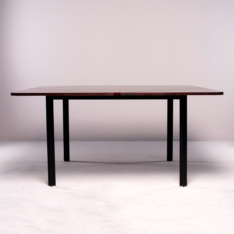 Tecno of Italy Rosewood Table with Fold Up Leaves For Sale 12