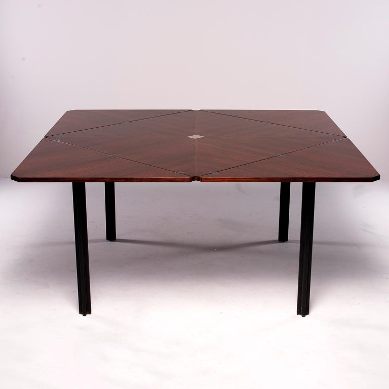 Tecno of Italy Rosewood Table with Fold Up Leaves For Sale 13