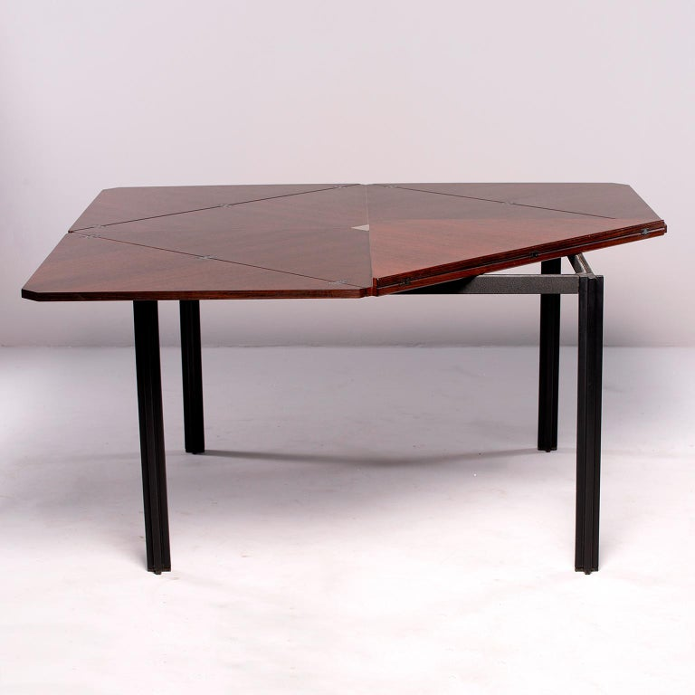 Italian Tecno of Italy Rosewood Table with Fold Up Leaves For Sale