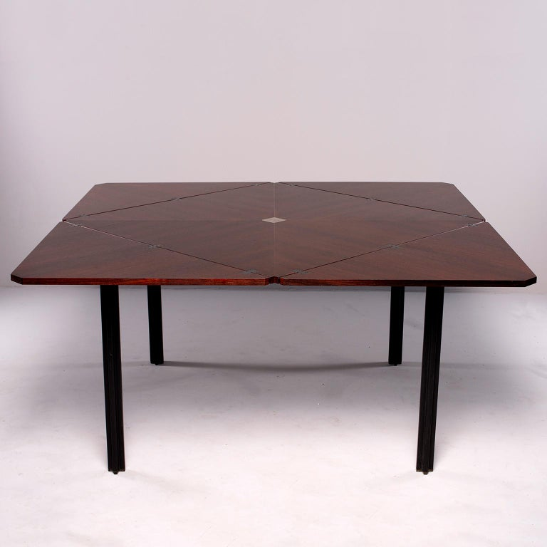 Tecno of Italy Rosewood Table with Fold Up Leaves In Good Condition For Sale In Troy, MI