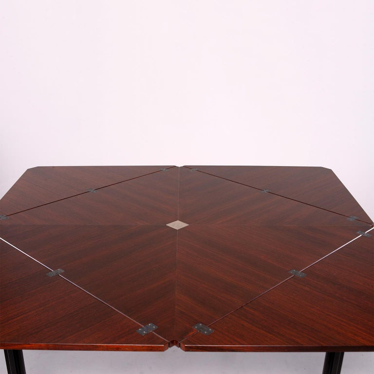 20th Century Tecno of Italy Rosewood Table with Fold Up Leaves For Sale