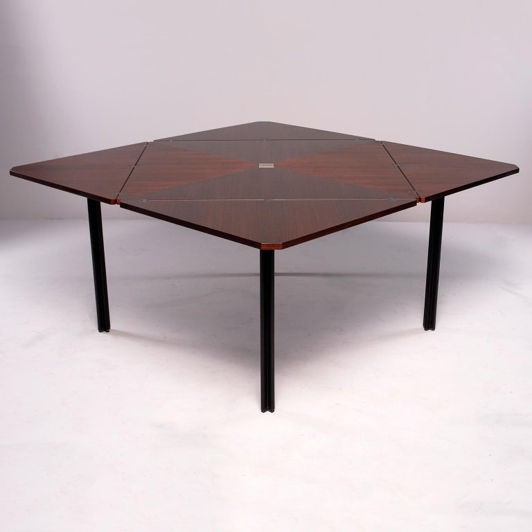 Metal Tecno of Italy Rosewood Table with Fold Up Leaves For Sale