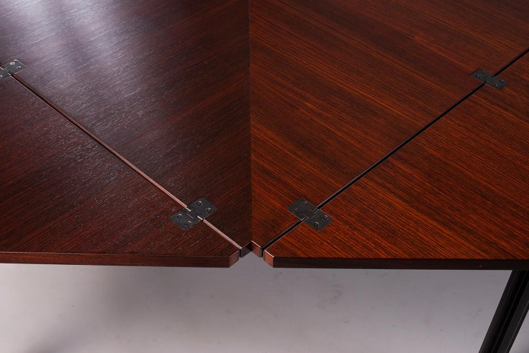 Tecno of Italy Rosewood Table with Fold Up Leaves For Sale 1