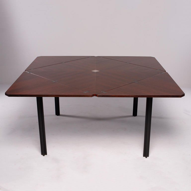 Tecno of Italy Rosewood Table with Fold Up Leaves For Sale 2