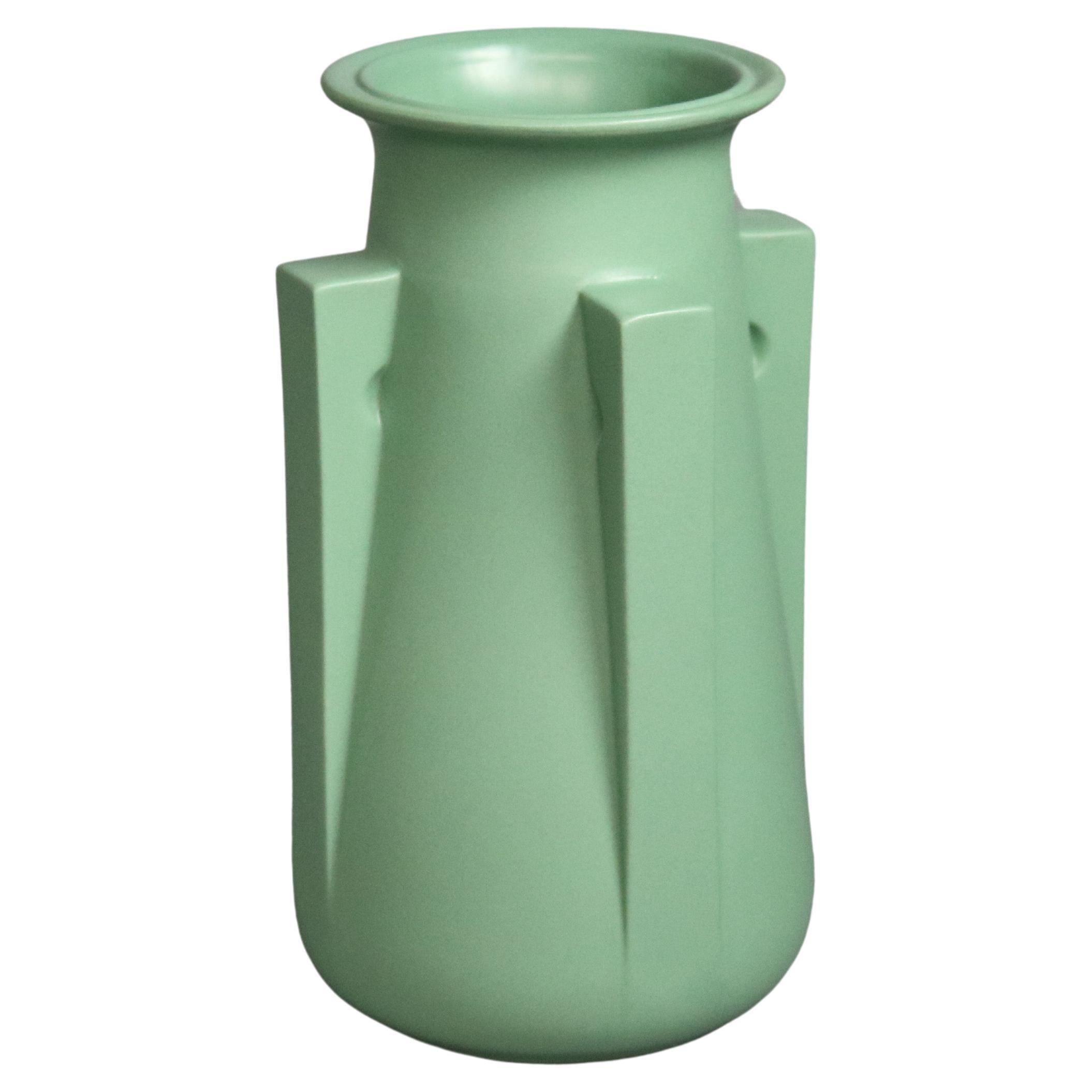 Teco Matt Green Four Buttress Art Pottery Vase 20th C