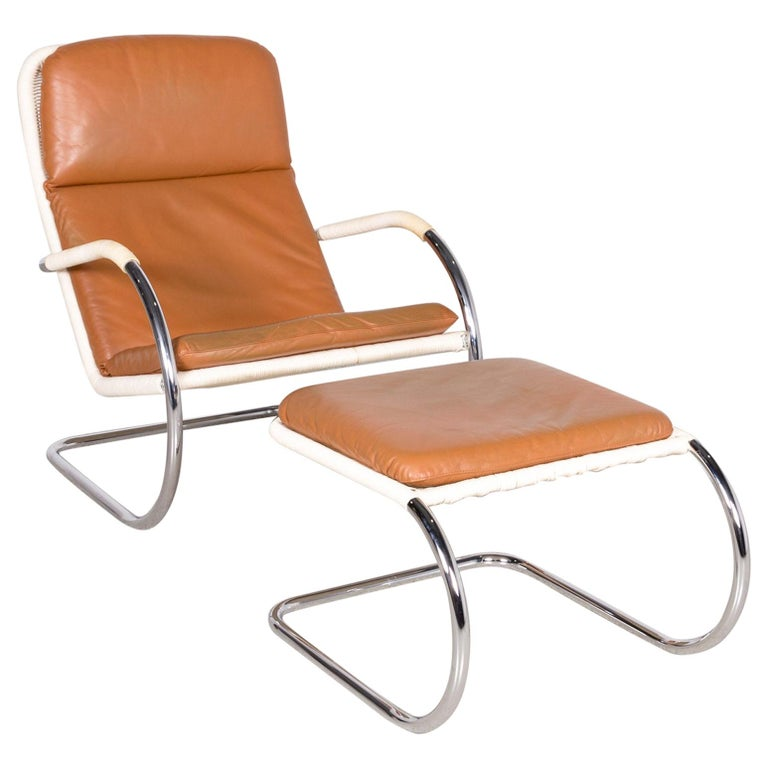 Tecta D35 C35 Designer Leather Cantilever Armchair Stool Brown