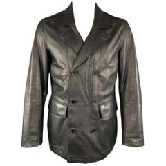 TED BAKER L Black Leather Double Breasted Peacoat