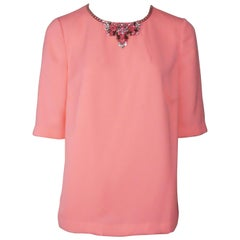 Ted Baker Neon Pink Silk Mid-Sleeve Jeweled Neckline - Large - NWT