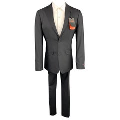 TED BAKER Size 36 Regular Black Wool Notch Lapel Suit
