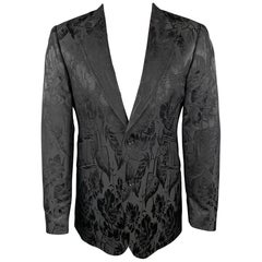 TED BAKER Size 38 Regular Black Jacquard Wool / Silk Peak Lapel Sport Coat