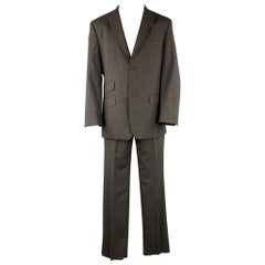 TED BAKER Size 40 Short Charcoal Glenplaid Wool Blend Notch Lapel Suit