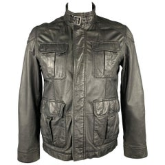 TED BAKER Size L Black Leather Zip & Snaps Zip Up Jacket