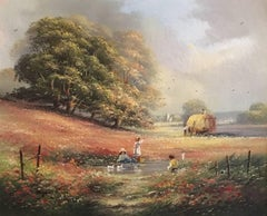 Loading the Hay Cart, Signed English Oil
