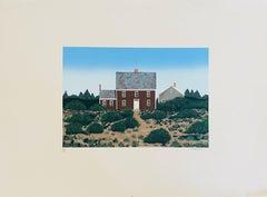 Large Silkscreen Serigraph of A House in Dunes, Americana Folk Art