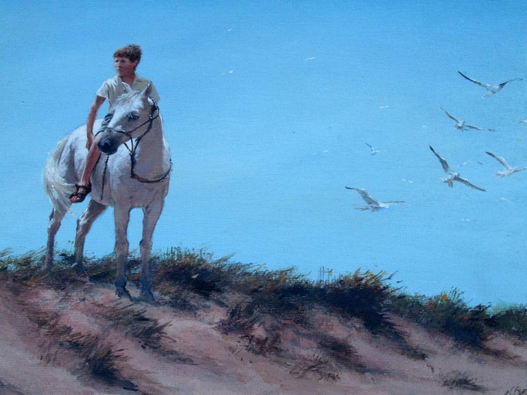 Stunning Irish oil on canvas framed painting painted during the last quarter of the 20th century, by Ted Jones (Irish 1952-2017).   This wonderful depicts a young Gentleman on horseback in sandy dunes with flying Seagulls in the distance. This