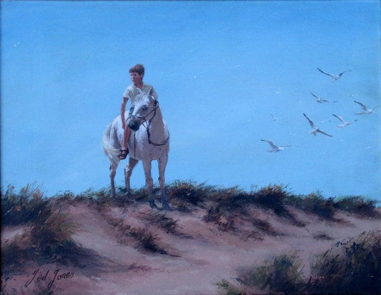 Victorian Ted Jones Dublin Ireland Irish Oil Painting on Canvas Gentleman on Horseback For Sale