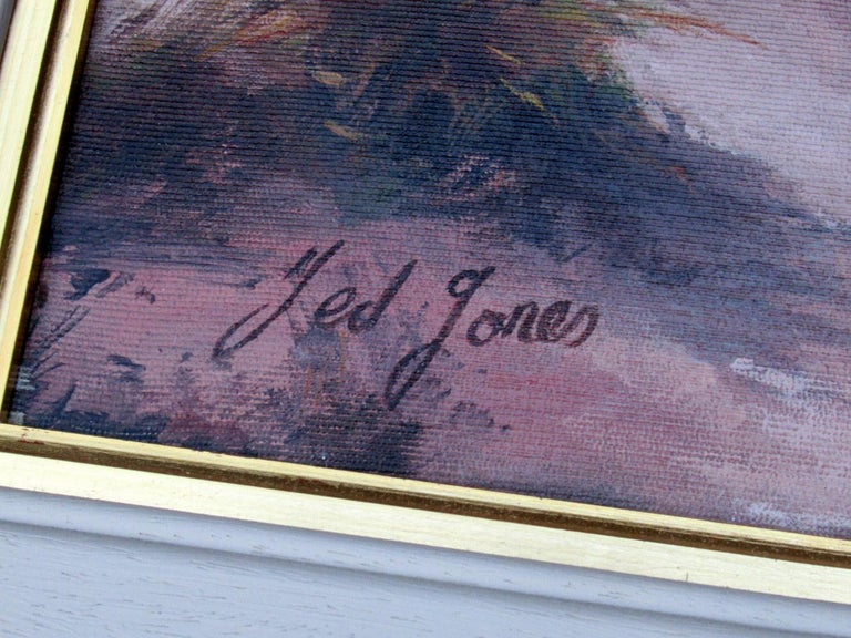 Painted Ted Jones Dublin Ireland Irish Oil Painting on Canvas Gentleman on Horseback For Sale