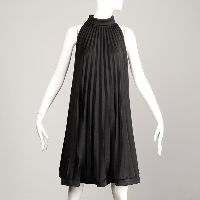 Women's Ted Lapidus 1960s Vintage Black Pleated Trapeze Cocktail Dress For Sale
