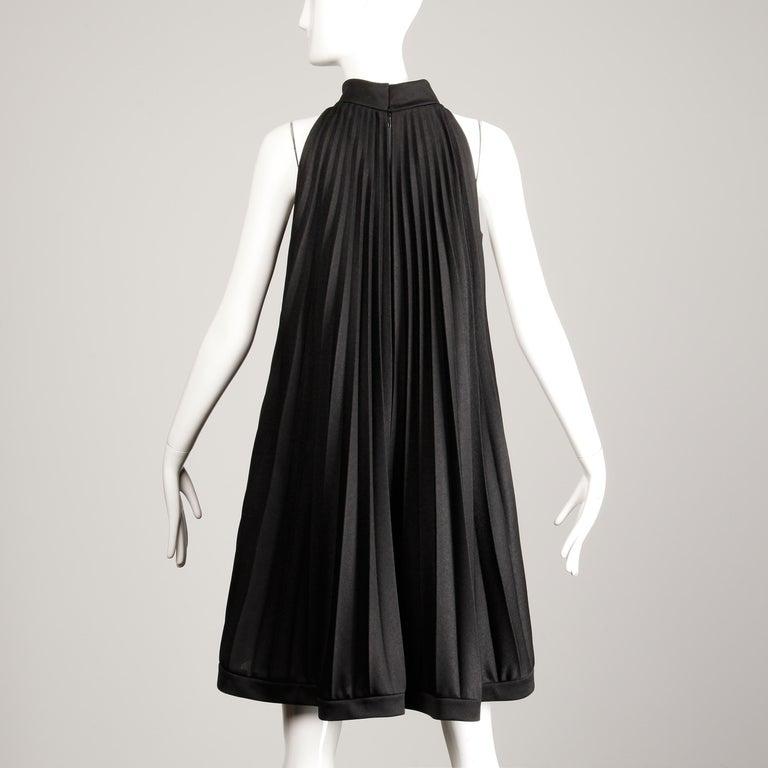 Ted Lapidus 1960s Vintage Black Pleated Trapeze Cocktail Dress For Sale 2