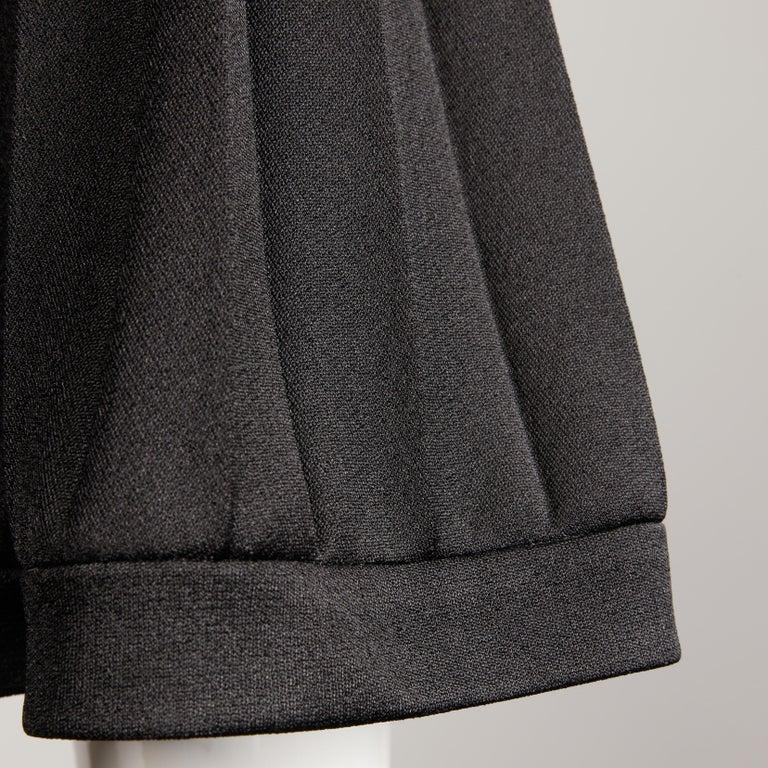 Ted Lapidus 1960s Vintage Black Pleated Trapeze Cocktail Dress For Sale 3