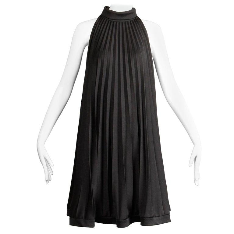 Ted Lapidus 1960s Vintage Black Pleated Trapeze Cocktail Dress For Sale