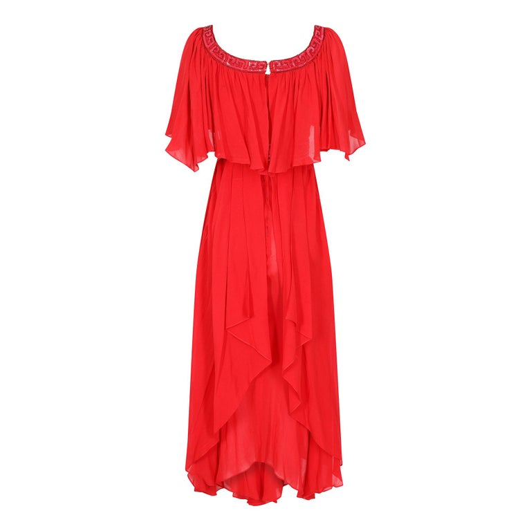 Ted Lapidus 1970s Flame Red Haute Couture Silk Dress In Excellent Condition For Sale In London, GB