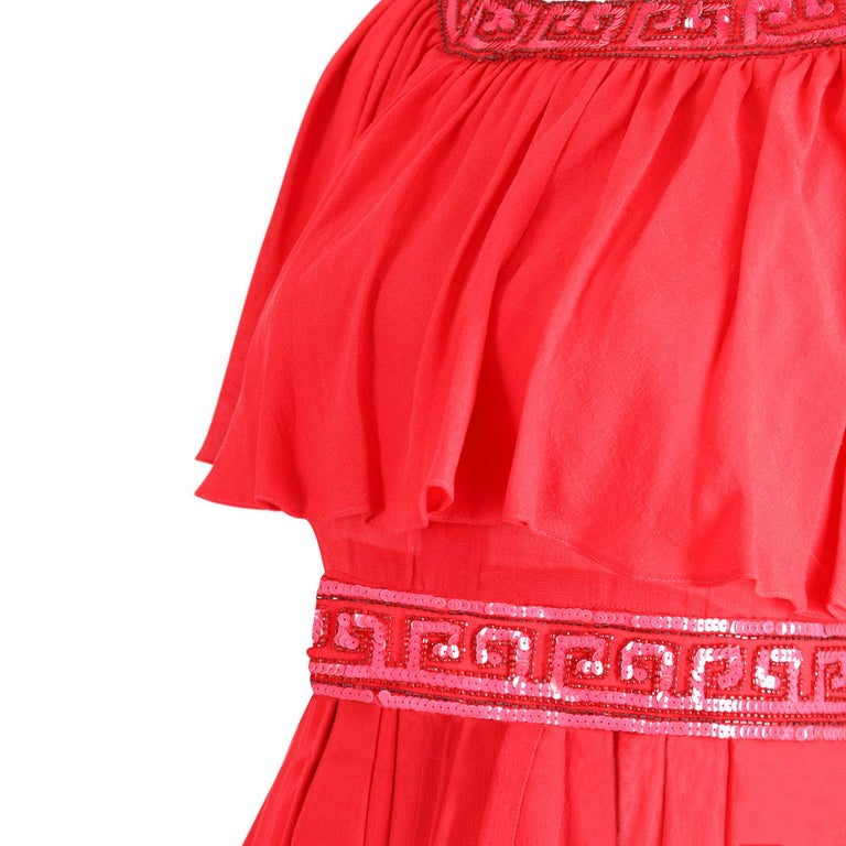 Women's Ted Lapidus 1970s Flame Red Haute Couture Silk Dress For Sale